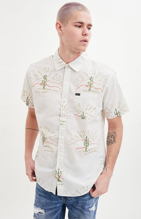 Charter Print Short Sleeve Button Up Shirt