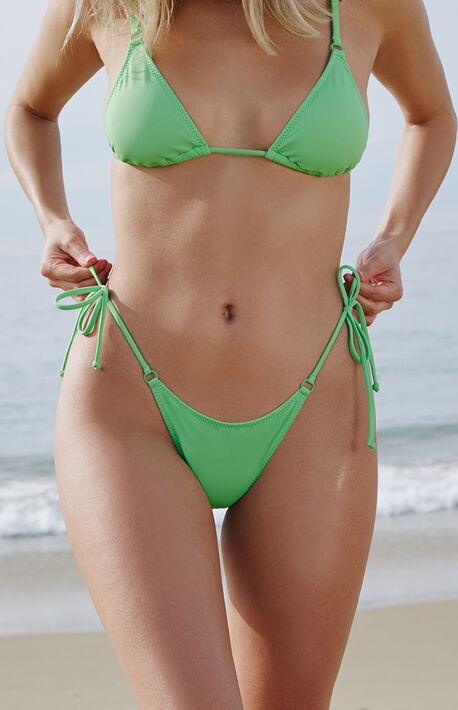 Green Avalon Ring Side Tie Bikini Bottom
