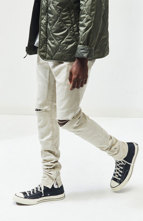 537e7b45fe7 Drop Skinny Ripped Khaki Denim Jogger Pants