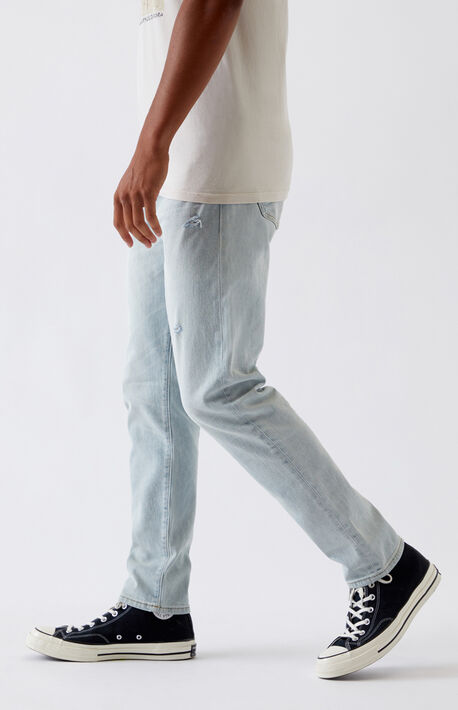 Light Ripped Slim Taper Jeans