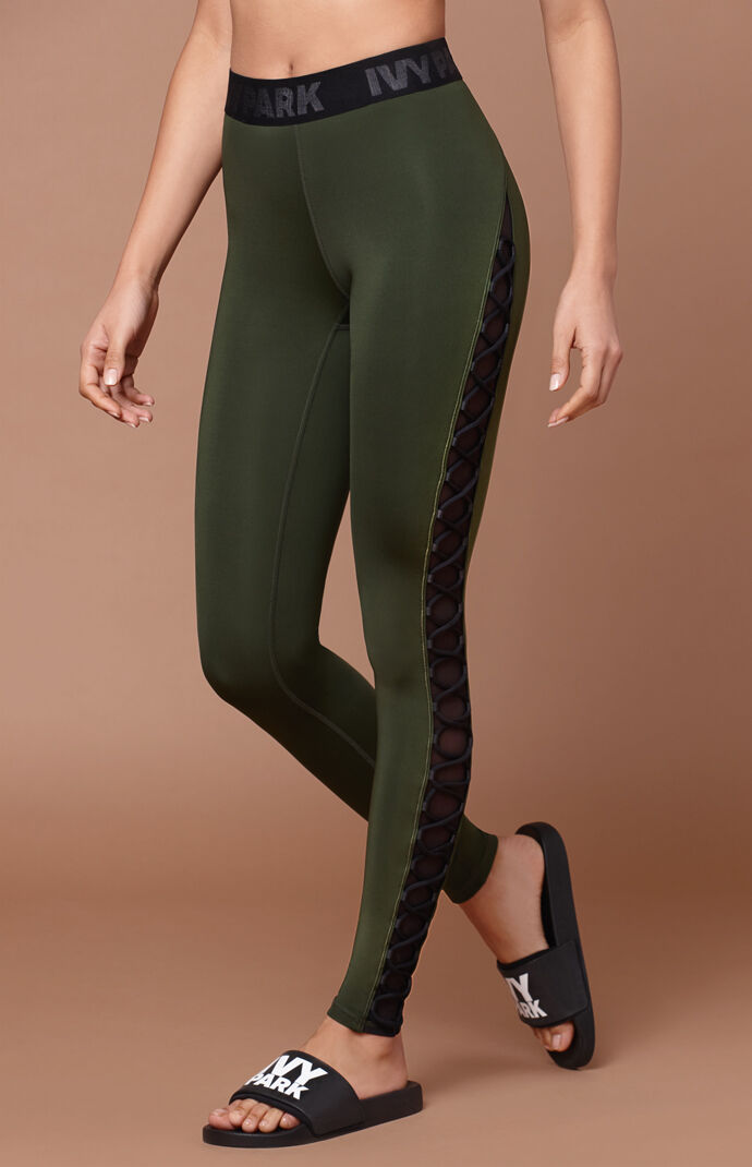 Ivy Park Womens Lace-up Detail Leggings - Olive 7952765
