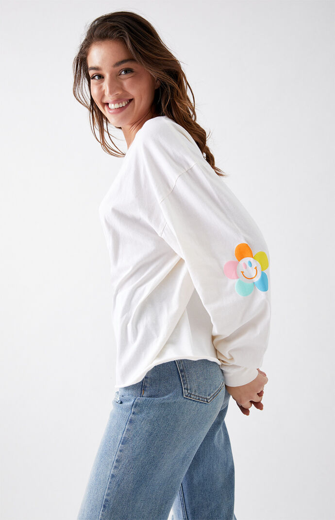 Flower Power Long Sleeve Boyfriend T-Shirt
