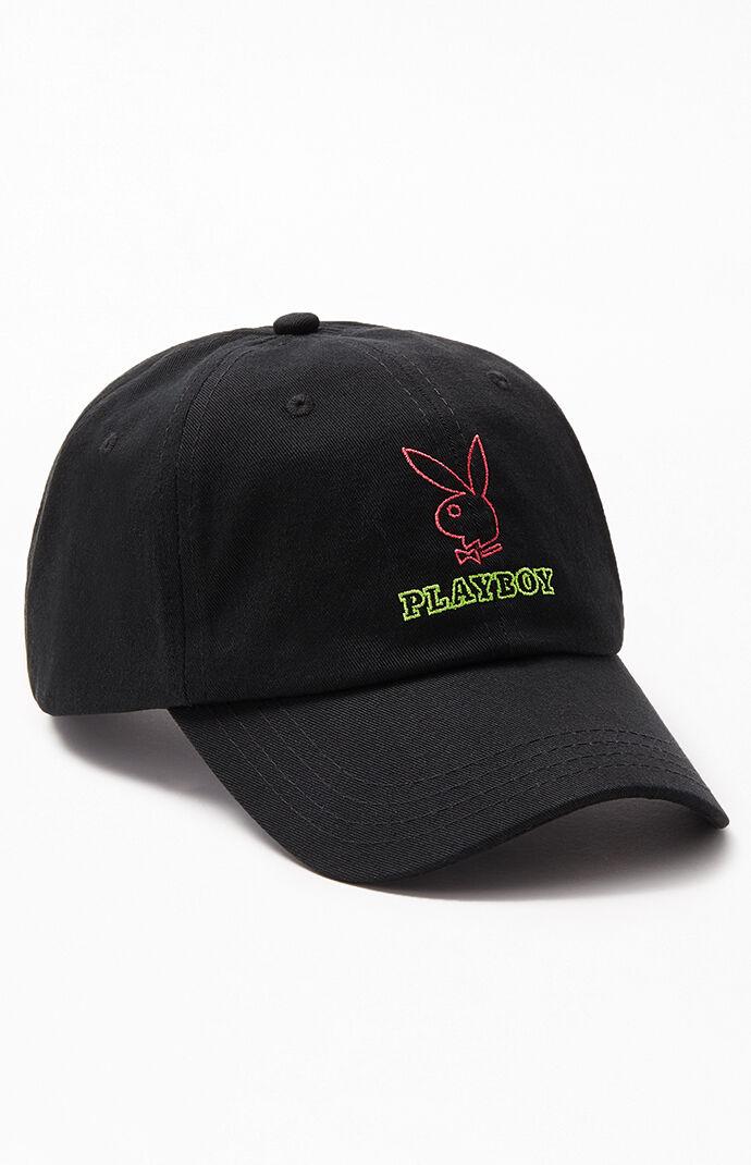 d46642bc $22 PacSun Mens x Playboy Neon Box Logo Strapback Dad Hat - Black Multi