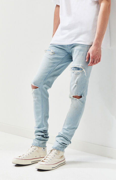 0ee011a4ad6af PacSun Stacked Skinny Light Blue Ripped Jeans