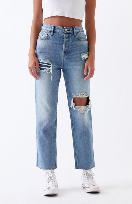 Light Ripped High Rise Straight Leg Jeans