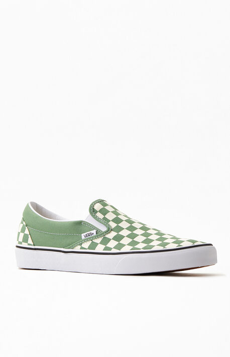 Green & White Checkerboard Classic Slip-On Shoes