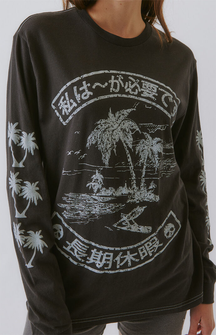 Vintage Surf Palm Tree Long Sleeve T-Shirt