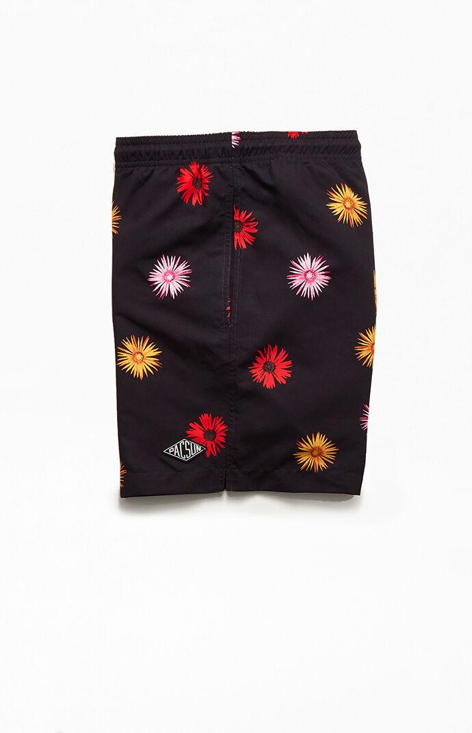 "Watercolor Floral 17"" Swim Trunks"