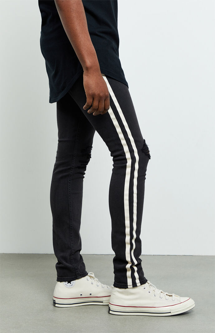 Side Stripe Ripped Stacked Skinny Jeans