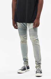 Stacked Skinny Active Stretch Moto Light Tint Jeans