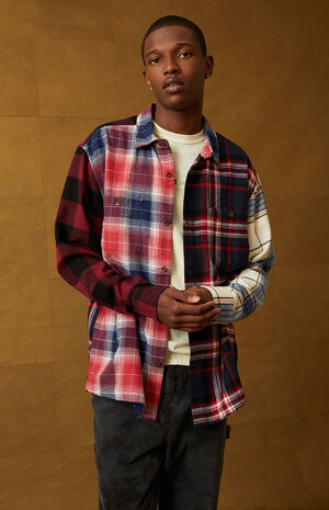 Multi Plaid Button Down Shirt image number null