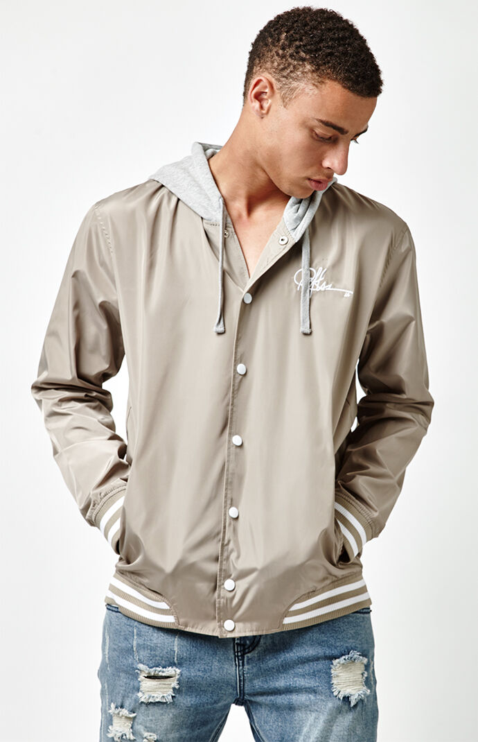 Young & Reckless Mens Preston Hooded Bomber Jacket - Sand 7187024