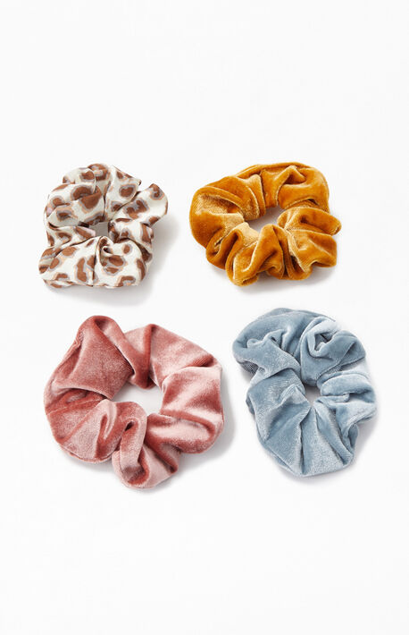 4-Pack Satin and Velvet Scrunchies