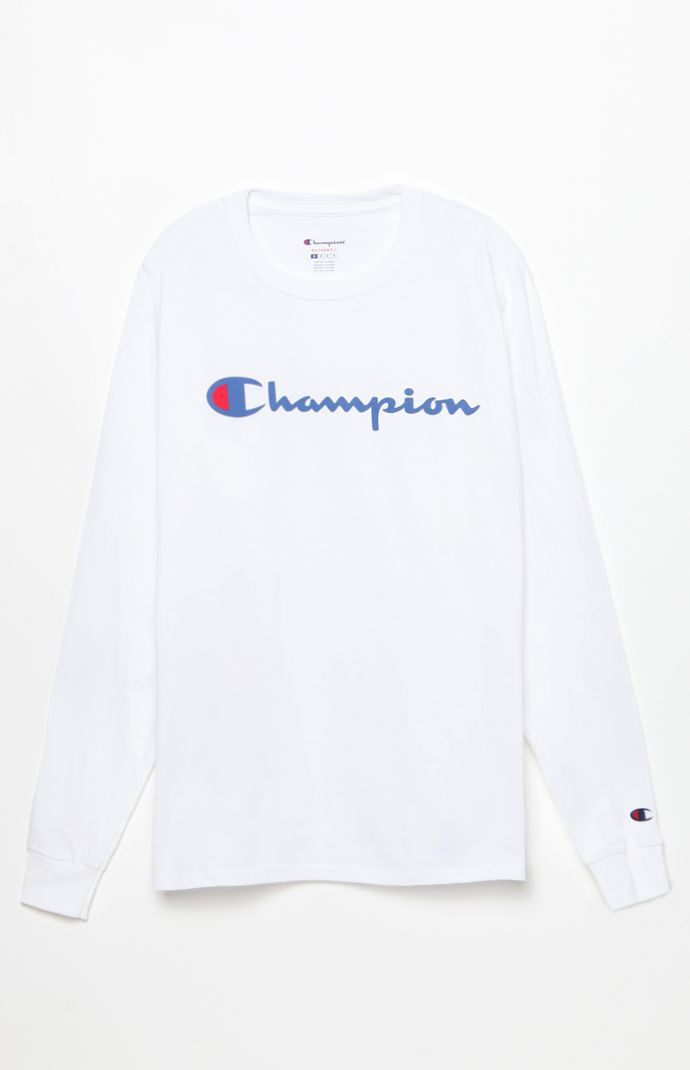 Champion Mens Patriotic Script Long Sleeve T-Shirt - White 5746102