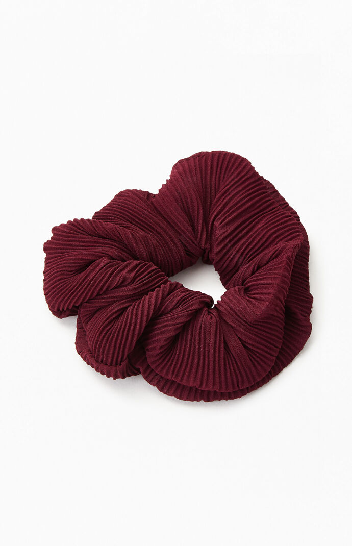 Burgundy Pleated Scrunchie