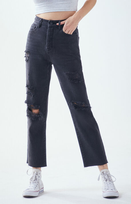 Noir Black High Waisted Straight Leg Jeans