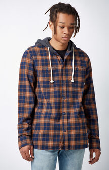 Lopes Plaid Flannel Hooded Long Sleeve Button Up Shirt