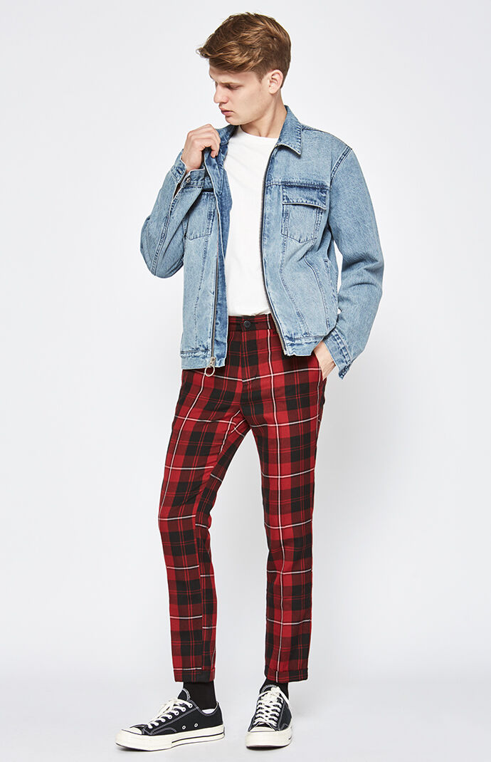 Skinny Plaid Cropped Red Chino Pants Pacsun