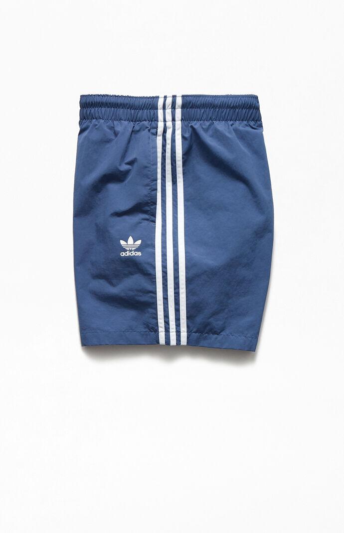 """Blue 3-Stripes 16"""" Swim Trunks"""