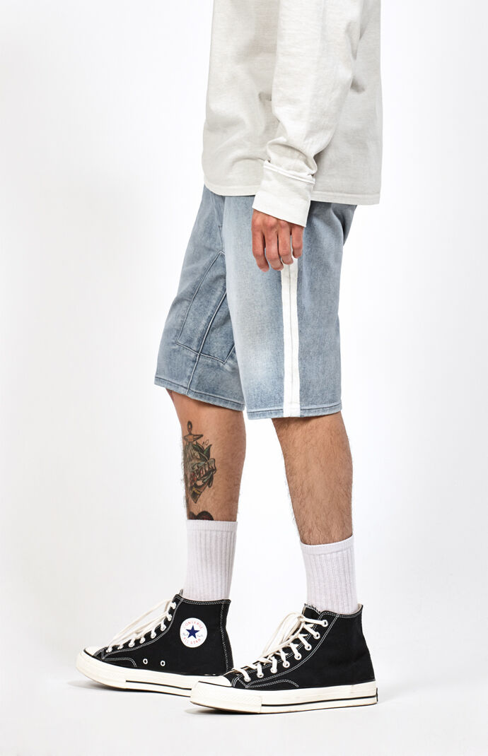 Drop Skinny Active Stretch Side Stripe Denim Shorts by Pac Sun