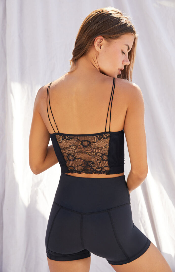Strappy Lace Seamless Ribbed Longline Bralette