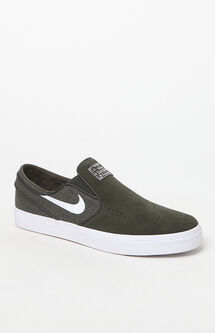 Zoom Stefan Janoski Slip-On Suede Olive & White Shoes