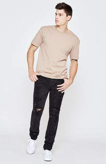 Stacked Skinny Comfort Stretch Destroy Painted Black Jeans