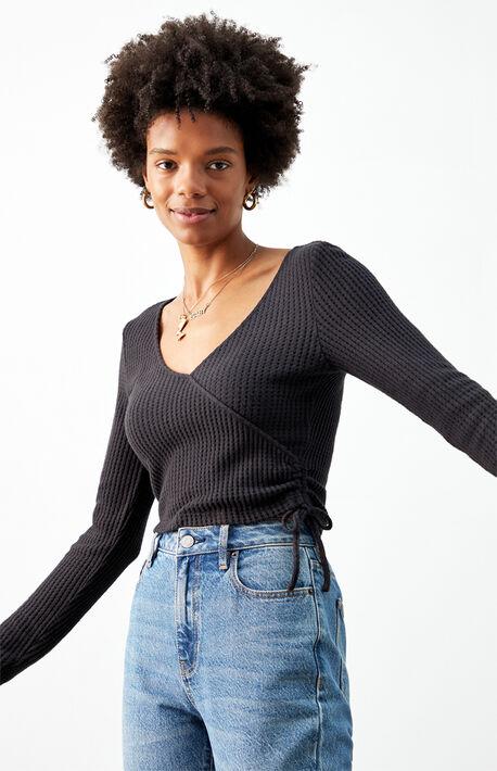 Cozy Cinched Surplice Long Sleeve Top