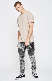 Stacked Skinny Comfort Stretch Moto Acid Wash Black Jeans