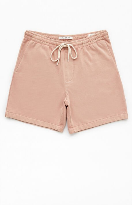 Pink Vintage Wash Fleece Drawstring Volley Shorts