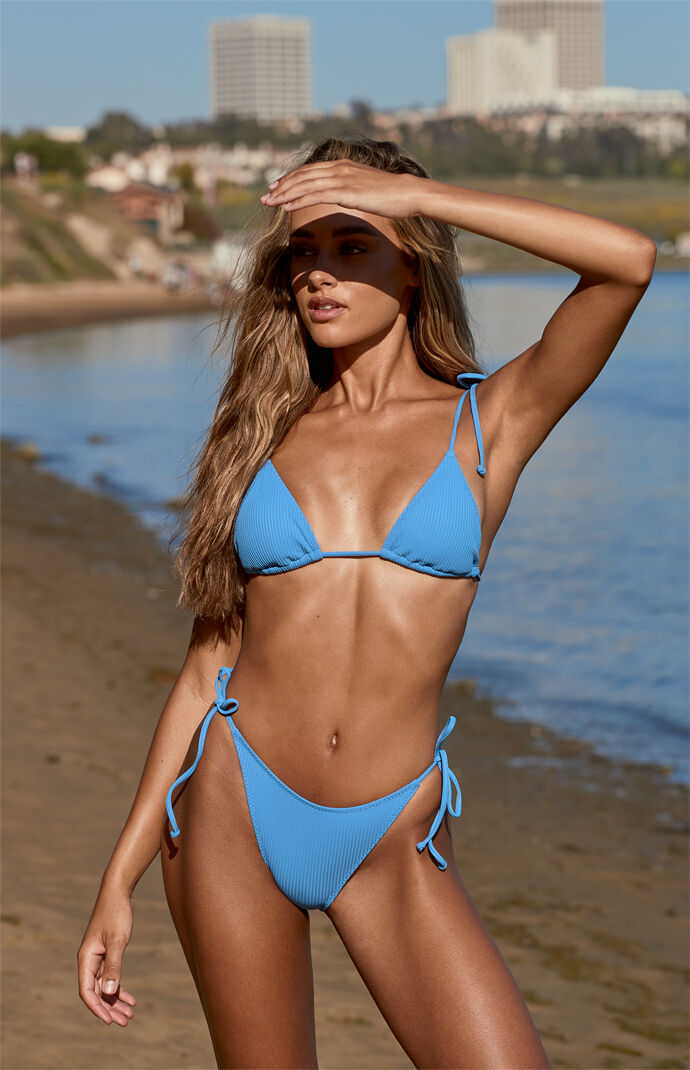 Medium Blue Playa Triangle Bikini Top