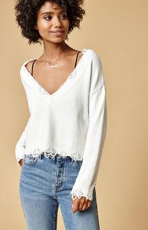 Destructed V-Neck Pullover Sweater