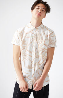 Peachy Palms Short Sleeve Button Up Shirt