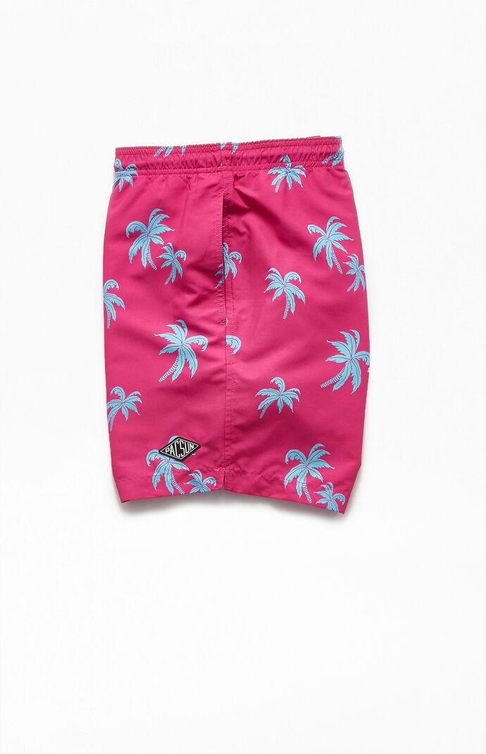 "Palm Print 16.5"" Swim Trunks"