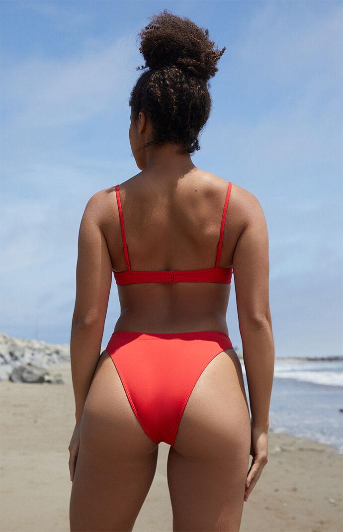 Red Georgia High Waisted Bikini Bottom
