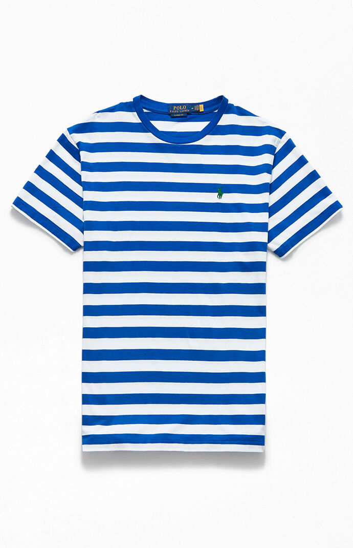 Blue & White Striped Animated T-Shirt