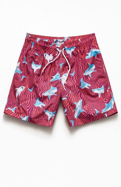 """Wavy Sharks 17"""" Swim Trunks"""