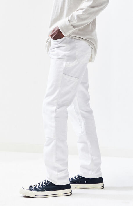 129c200056c3 Workwear White Slim Fit Carpenter Jeans