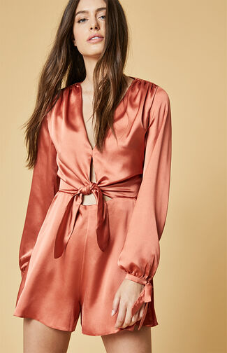 Satin Long Sleeve Romper
