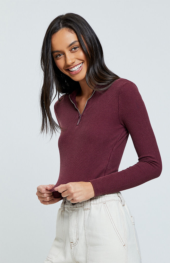Zip Up Mock Neck Top