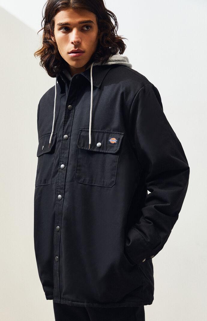 Relaxed BlackHooded Work Jacket