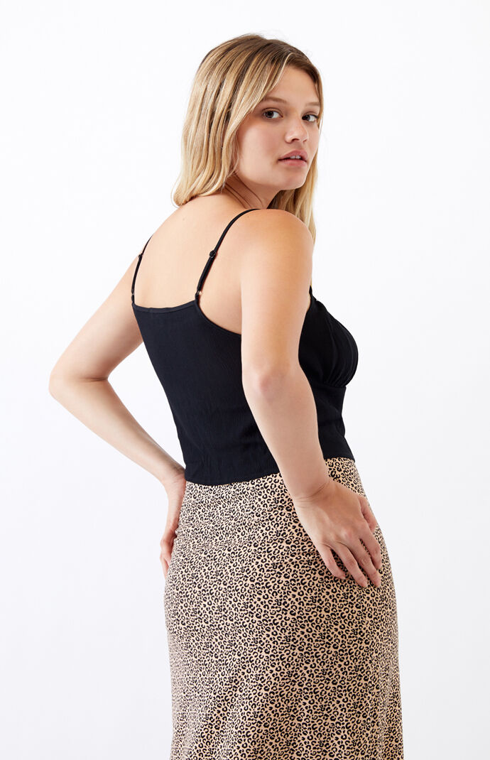Daisy Trim Shirred Cami Tank Top