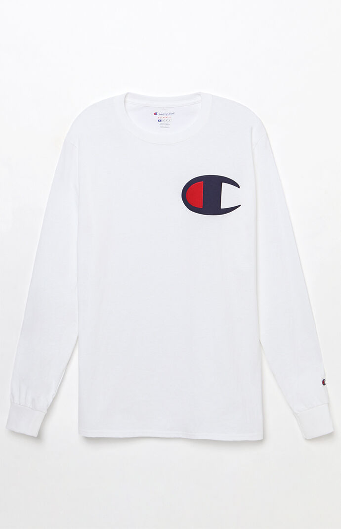 Champion Mens Big C Applique Long Sleeve T-Shirt - White 7994023
