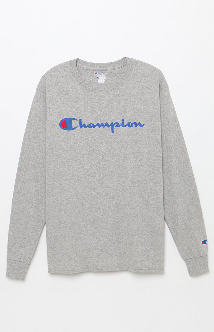Champion Patriotic Script Long Sleeve T-Shirt - Heather Grey 7470412