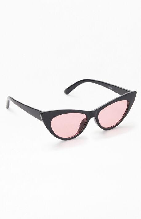Black & Pink Cat Eye Sunglasses