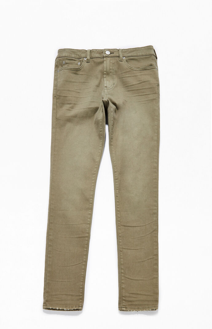 Olive Stacked Skinny Jeans