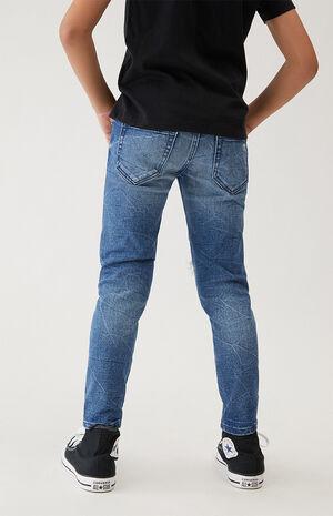 Medium Blue Distressed Moto Skinny Jeans