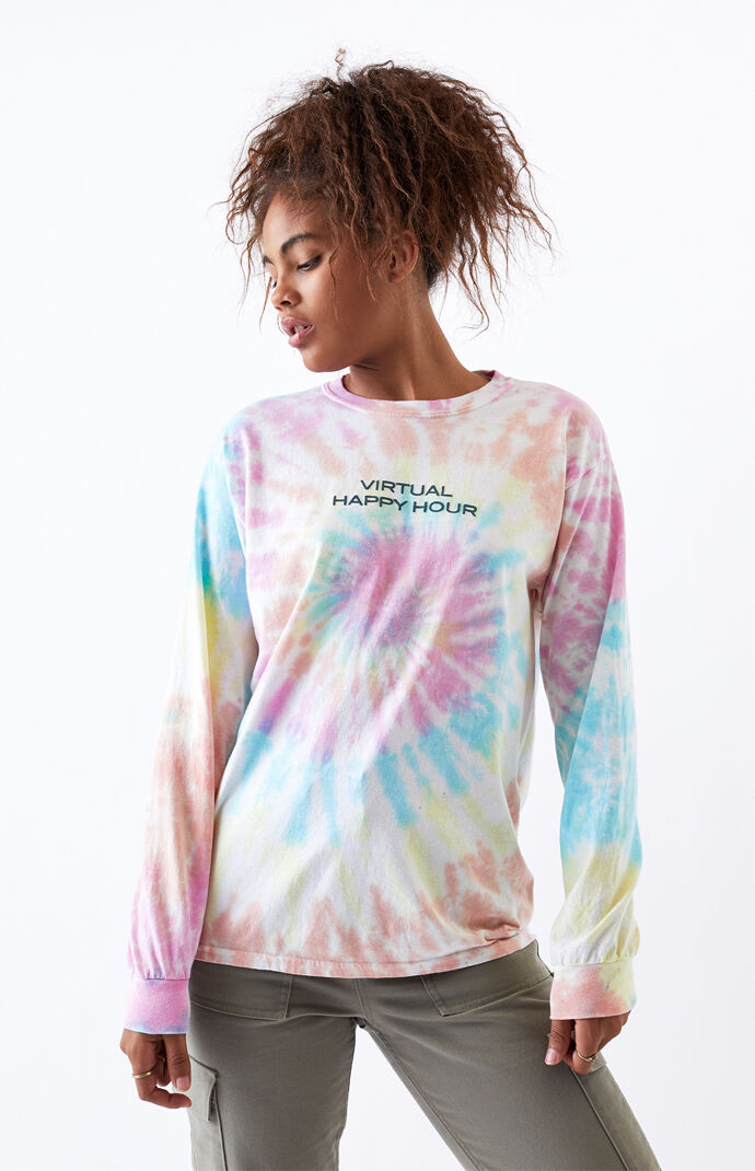 Tie-Dyed Virtual Happy Long Sleeve T-Shirt