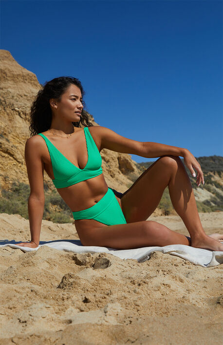 Eco Green Kyle Plunging Bikini Top