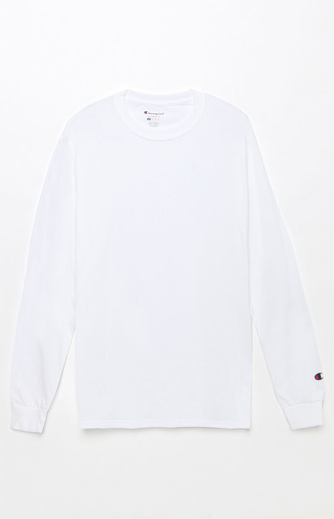 Champion Cotton Long Sleeve T-Shirt - White 7287048